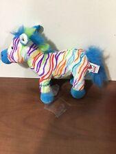 Ganz blue and multi colored stuffed zebra