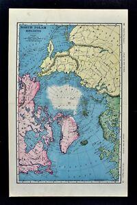 1898 McNally Map - North Pole Arctic Ocean Greenland Canada Alaska ...