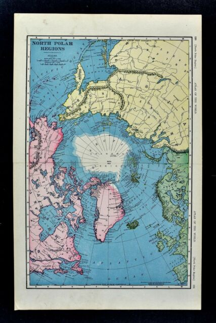 1898 Mcnally Map North Pole Arctic Ocean Greenland Canada Alaska