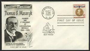 #1148 8c T. G. Masaryk, Fleetwood-Addressed FDC Cualquier 5=