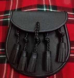 Ravissement Kilt Sporran Cuir / Kilt Écossais Escarcelle Cuir Noir 5 Pompons Avec Chaîne