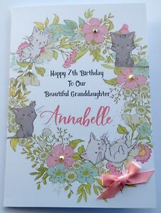 Image Is Loading Personalised Cat 1st Birthday Card Daughter Granddaughter Niece