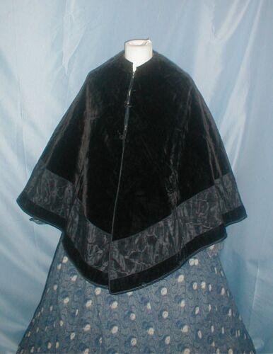 Antique Dress Cape Goth Victorian 1860 to 1870 Bla