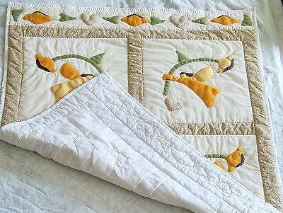 """Handmade Applique Quilt Throw Block Garden Pixies 48"""" x 42"""" Light Weight"""