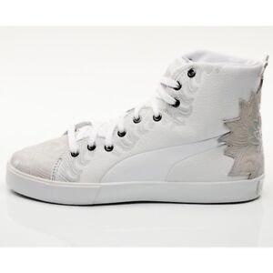 63728043c384 Womens Puma 4M Mix White Grey Hi Top Ladies White Grey Trainers