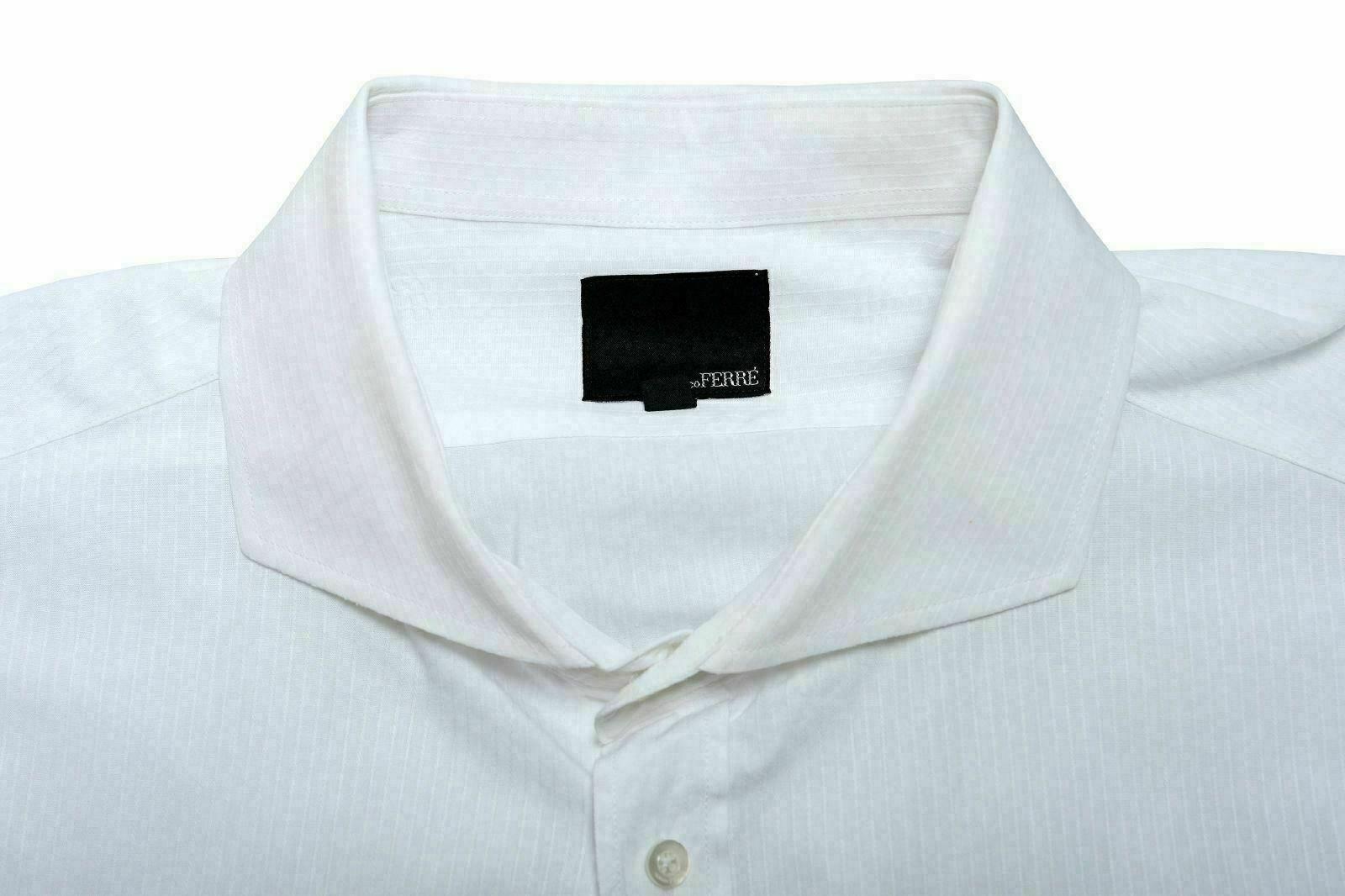 Gianfranco Ferre Weiß Weiß Weiß Herren Knöpfe Langärmeliges Kleid Hemd Us 18   New Product 2019  dd64a2