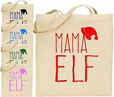 Mama Elfen groß Baumwolle Einkaufstasche WEIHNACHTEN Tasche Mum Mutter