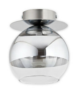 Modern-Flush-Single-1-Ceiling-Light-GLASS-Ball-Lamp-Chrome-Mirror-Dining-Led