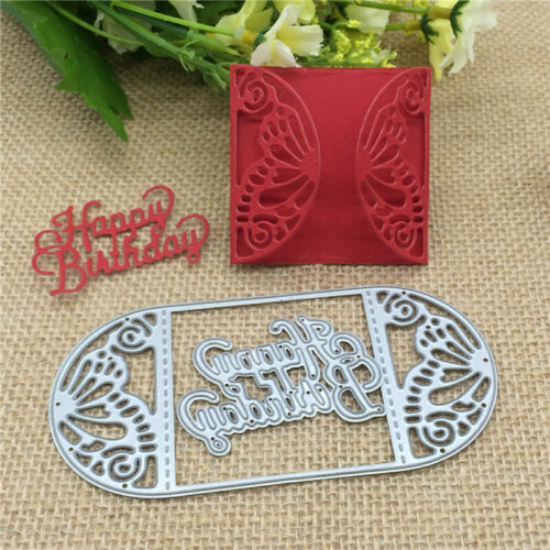 Butterfly card frame happy birthday Metal Cutting Dies Photo Album Embossing