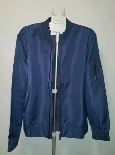 L Harrington Topman Blu scuro impermeabile Cappotto Giubbotto Taglia bomber leggero Uomo Zvv4aqA
