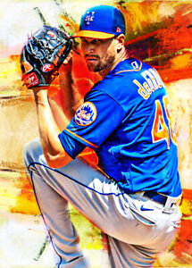 2021 Jacob DeGrom New York Mets 6/25 Art ACEO Sketch Print Card By:Q