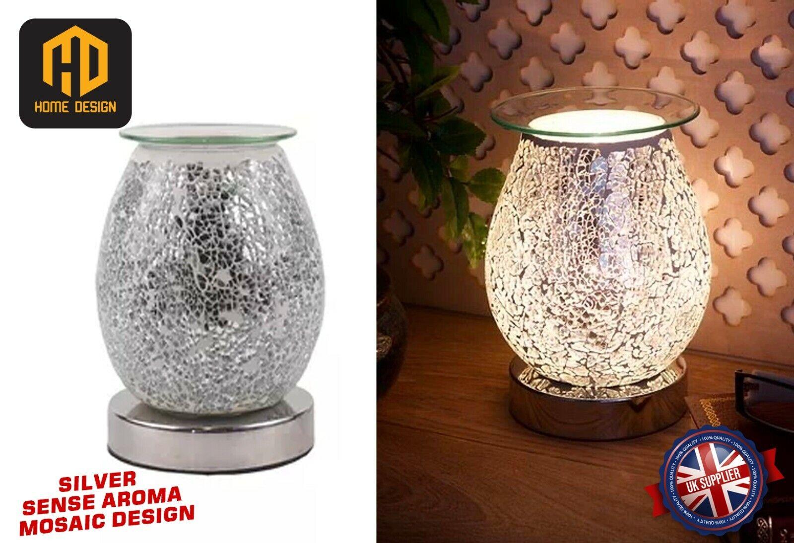 Village Candle Blue Silver Glass Wax Melt Burner In Mosaic Design 14 Cms Vc475 For Sale Ebay