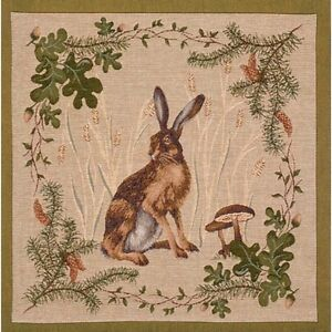 French Tapestry Decorative Throw Pillow Cushion Cover 19x19 The Hare 100% Cotton