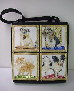 Dog-Lovers-Beaded-Handbag-Shoulder-Bag-Pug-Spaniel-Pomeranian-Chihuahua-NEW