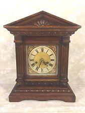 Antique Kienzle Bracket Clock Great Oak Wood Case Time & Strike Running