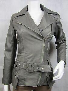 Slim Grey Stud Biker Zip Ladies Tight Leather Jacket Bike Napa Fitted FPqwnXd6