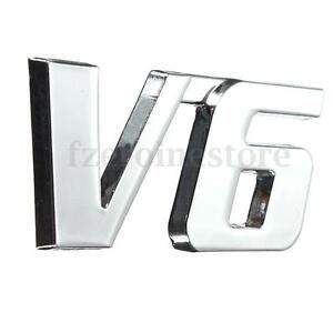 V6-3D-Cromo-Adhesivo-Calcomania-Emblema-Tronco-placa-de-coche-placa-lateral-con-el-logotipo-ABS-Auto