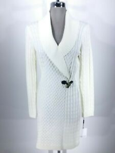 bab0ebe3b7 Calvin Klein New Modern WINTER WHITE cable long sleeves Sweater ...