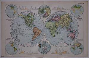 1910 ORIGINAL MAP THE WORLD WESTERN & EASTERN HEMISPHERE MOUNTAINS TEMPERATURE
