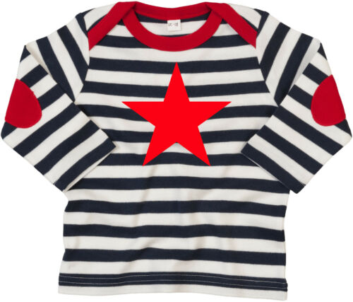 RED STAR Ringer gestreift blau-weiß-rot Baby-Longsleeve