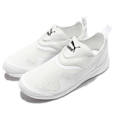 Puma Aril Blaze SlipOn Triple White Mens Casual Trainers Sneakers 359791-02