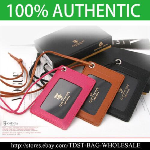 Korea ID Card Holder Card Case Leather Case Neck Strap KR352 Unisex OMNIA
