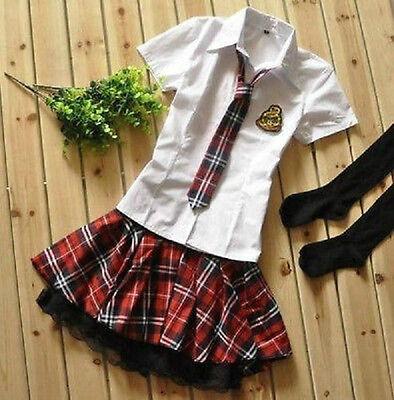Japanese Costume, Japan School Girl Uniform shirt, skirt ,tie and stockings