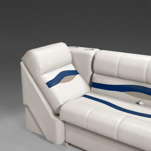 Premium Right Lean Back Pontoon Seats In Ivory Blue and Tan