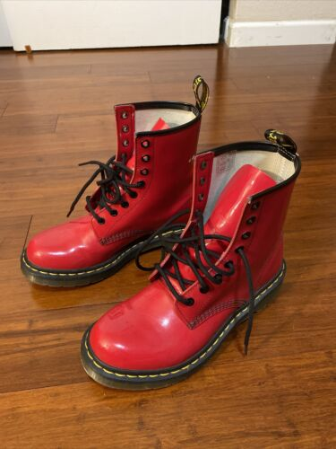 doc martens boots red Womens 8