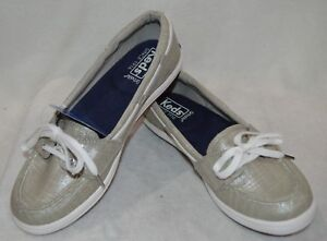 5b4f042ad3 Image is loading Keds-Womens-Glimmer-Linen-Silver-Boat-Shoes-WF56836-