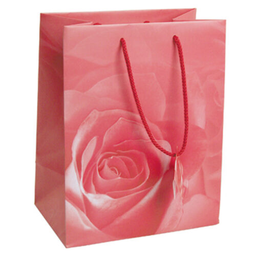"""Glossy Paper Pink Rose Gift Tote Bag Rope Handle 20 Pack 8/"""" x 5/"""" x 10/"""""""