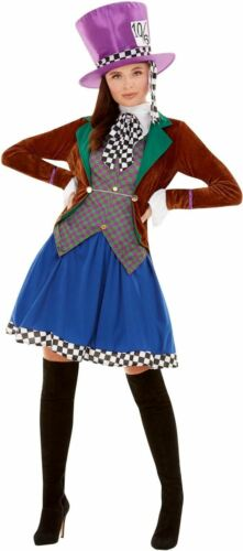 Mad Hatter Womens Costume Ladies Alice Wonderland Fancy Dress outfit Book Story