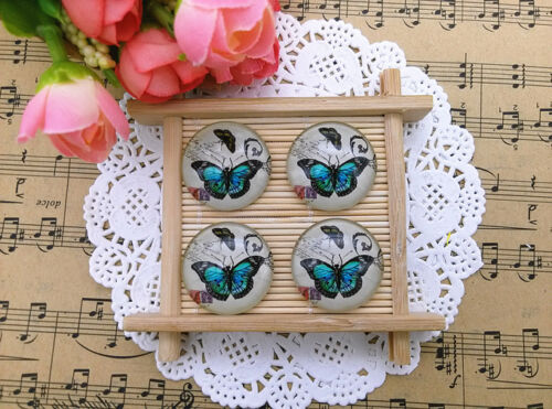 Wholesale 25mm Photo Butterfly Handmade Glass Dome Cabochon Cameo Flatback A50