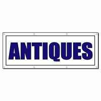 Antiques Promotion Business Sign Banner 4' X 8' W/ 8 Grommets