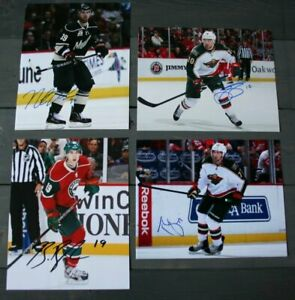 Lot-of-4-Autographed-Minnesota-Wild-8x10-Photos-Prosser-Setoguchi-Bulmer-Gilbert