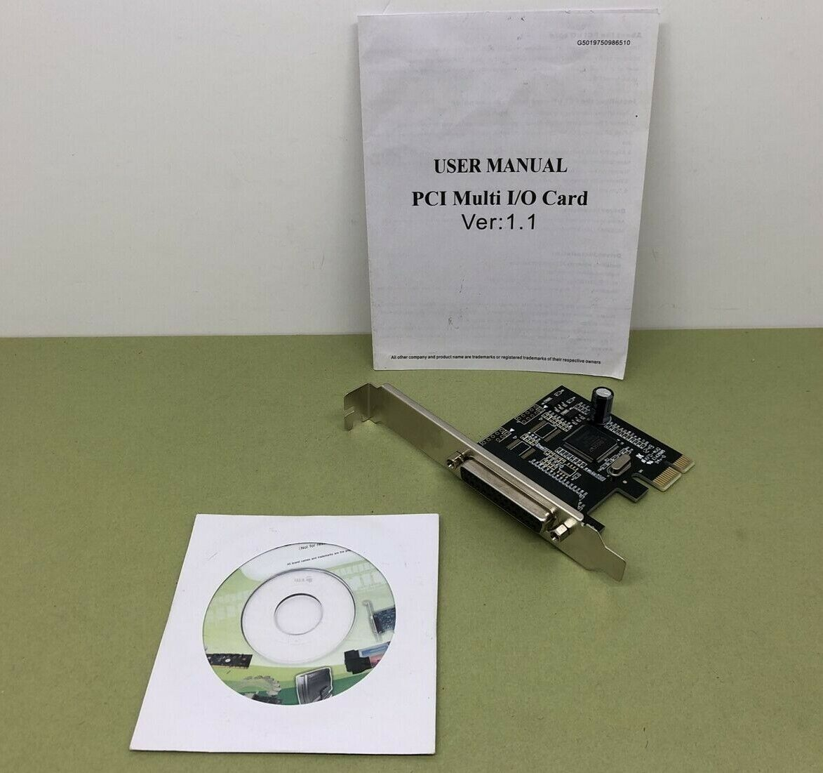 PCIE 1PORT PARALLEL I/O EXPANSION CARD HIGH SPEED ECP EPP SPP + DRIVERS - TESTED