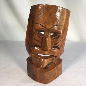 """Handmade Tiki Mask Handcarved Wooden Signed 11"""""""