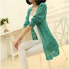 Women Casual Long Sleeve Cardigan Hollow Knit Knitwear Sweater Coat Outwear Top