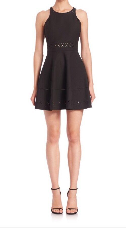 Nwt Elizabeth & James Schwarz Mirna Laser Ausgeschnittenes Kleid Sz 6 Lbd Weiß