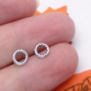 Kreis-rund-schwarz-Design-Ohrringe-Ohrstecker-Stecker-925-Sterling-Silber-neu