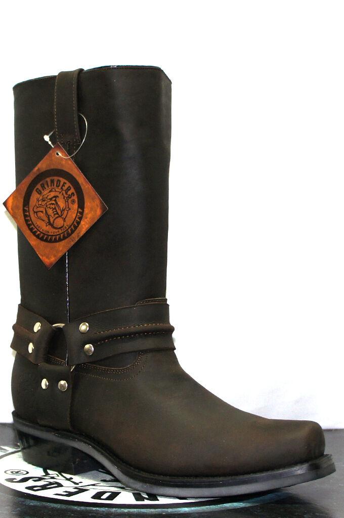 Grinders renegade hi marron unisexe bottes de cuir cowboy western motards bottes hautes