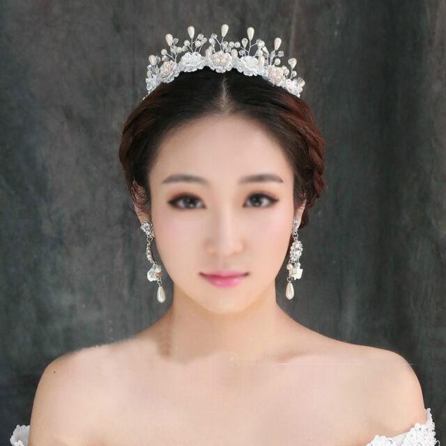 6cm High Lace Crystal Pearl Hair Band HeadBand Tiara Accessories Wedding Prom