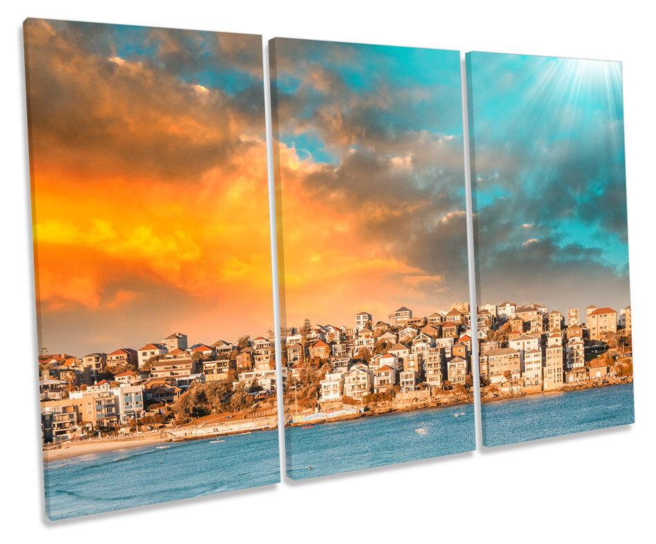 Bondi Beach Sydney TREBLE CANVAS Wand Kunst Box Framed Drucken