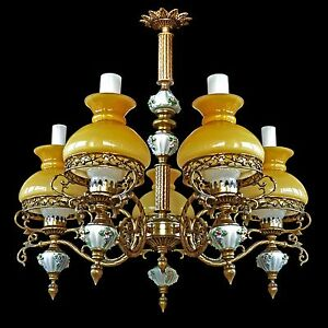 Antique-French-Victorian-5-Light-Chandelier-Porcelain-Bronze-Yellow-Glass-Shad