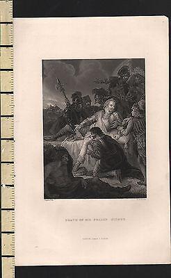 c1830 GEORGIAN PRINT ~ DEA TH OF SIR PHILIP SIDNEY ~