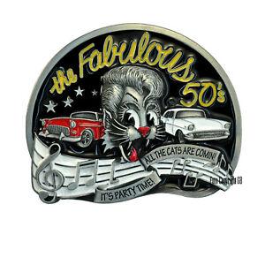 50s Rockabilly Gürtelschnalle Rock`n Roll Buckle f. Wechselgürtel Cat Comic*567