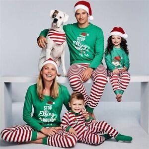 Family-Matching-Christmas-Pajamas-Set-Women-Baby-Kids-Santa-Sleepwear-Nightwear