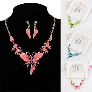 Lady-Butterfly-Pendant-Choker-Chunky-Statement-Bib-Necklace-Earrings-Jewelry-Set