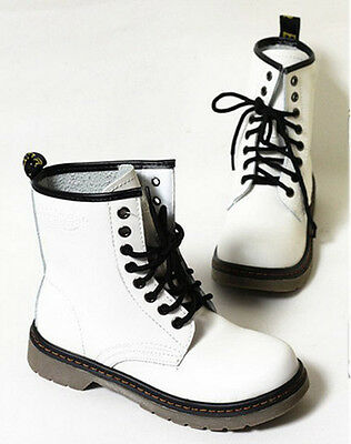 Fashion Women's Lace Up Mid Calf Boots Combat Punk Ankle High Boots Flat shoes