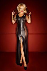 Noir-Handmade-Long-Wet-Look-amp-Tulle-Dress-with-Collar-Clubwear